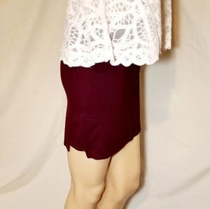 Mini Burgundy Bodycon Skirt Forever 21 Zip In Back